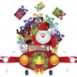 Santa and Reindeer Flying in Vintage Plane — Stock Vector #15349623