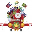 Santa and Reindeer Flying in Vintage Plane — Stock Vector