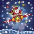 Santa and Reindeer Flying in Vintage Plane — Stockvector #15349925