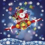 Santa y renos volando en avión vintage — Vector de stock