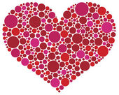 Valentines Day Heart in Pink and Red Dots — Stock Vector
