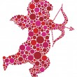 Valentines Day Cupid Silhouette with Dots — Stock Vector
