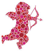 Valentines Day Cupid Silhouette with Dots — Vetorial Stock