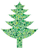 Christmas Tree Silhouette with Dots Pattern — Stock Vector