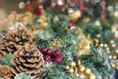 Christmas Garland Decoration with Colorful Blurred Lights — Stock Photo