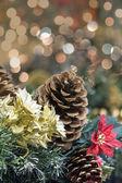 Decoração de Natal guirlanda com retrato de poinsettia — Fotografia Stock