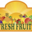Fresh Fruits Stand Signage with Sun Illustration — Stock Vector #15742649