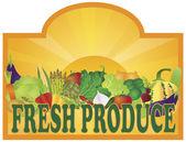 Freshproducesignsunraysv — Stok Vektör