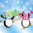 Penguins Pair Ice Skating in Winter Scene Illustration — Imagens vectoriais em stock