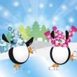Penguins Pair Ice Skating in Winter Scene Illustration — Stock Vector