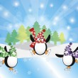 Three Penguins Ice Skating in Winter Scene Illustration — Stock vektor