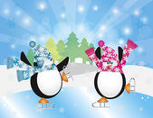 Penguins Pair Ice Skating in Winter Scene Illustration — Stock Vector