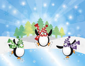 Three Penguins Ice Skating in Winter Scene Illustration — Stock Vector