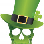 St Patricks Day Skull with Leprechaun Hat Illustration — Stock Vector