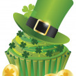 St Patricks Day Leprechaun Hat Cupcake - Stock Vector