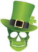 St Patricks Day Skull with Leprechaun Hat Illustration — Stock Vector