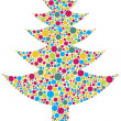 Christmas Tree Silhouette with Colorful Dots — Stock Vector