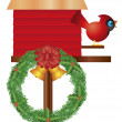 Christmas Birdhouse with Cardinal and Wreath Illustration - Stock Vector