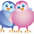 Royalty-Free Stock Vektorgrafik: Valentines Day Lovebird Pair Illustration