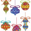 Christmas Ornaments with Tribal Motifs — Stock Vector