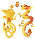 Dragon and Phoenix Chinese Symbols Illustration — Stock Vector