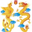 Stock Vector: Dragon and Phoenix with Clouds Illustration