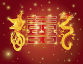 Dragon and Phoenix Double Happiness Red Background — Stock Vector