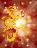 Chinese New Year Dragon on Bokeh Background — Stock Vector