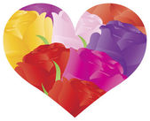 Colorful Roses in Heart Shape Outline Illustration — Stock Vector