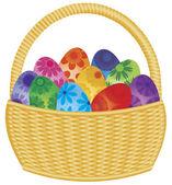 Easter Eggs Basket Illustration — Stock Vector