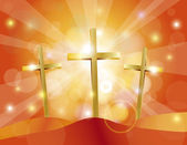Easter Good Friday Gold Crosses Illustration — Stockvector