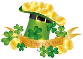 St Patricks Day Hat Banner Gold Coins Illustration — Stock Vector
