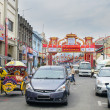 jonker walk with chinese new year decoration in melaka — Stock Photo