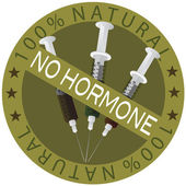 No Hormone 100% Natural Label — Stock Vector