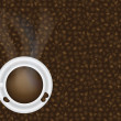 Royalty-Free Stock Vector Image: Cup of Hot Coffee and Beans Background Illustration