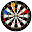 Dartboard with Darts Illustration — Stock Vector