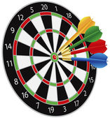 Dartboard with Darts Hitting the Bullseye — Stock Vector