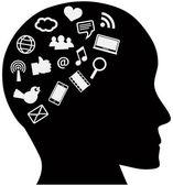 Human Head with Social Media Icons — Stock Vector