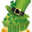 Royalty-Free Stock Vector Image: St Patricks Day Leprechaun Hat Cupcake Illustration