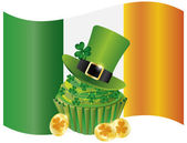 Ireland Flag with Hat Cupcake Coins and Shamrock — Stock Vector