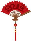 Ilustración de serpiente 2013 año ventilador chino rojo — Vector de stock