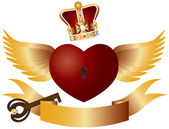 Flying Heart with Crown Jewels and Key Illustration — Stock Vector