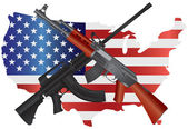Assault Rifles with USA Map Flag Illustration — Stock Vector