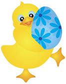 Duckie Carrying Easter Egg Illustration — Stock Vector