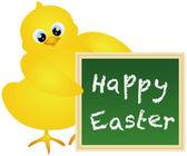 Happy velikonoční kuřátko s tabuli ilustrace — Stock vektor