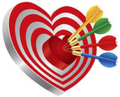 Darts on Heart Shape Bullseye Illustration — Stock Vector