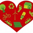 Red Heart with Eco Friendly Icons Illustration — Stock Vector
