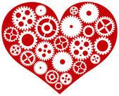Corazón rojo con ilustración de engranajes mecánicos — Vector de stock