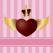 Flying Heart with Wings and Crown on Pink Background — Stock Vector #19837027