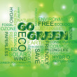 Go Green Word Cloud Green Background — Stock Vector